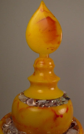Mandala Set with Faux Amber Tiered Rings & Finial