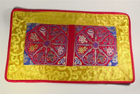 Auspicious Symbol Puja Table Cover - Red with Yellow Border