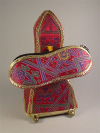 Superior Four Sided Brocade Bell and Dorje Case - With Inner Drawstring Pouch - Red Brocade
