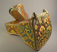 Superior Four Sided Brocade Bell and Dorje Case - With Inner Drawstring Pouch - Golden Yellow Brocade