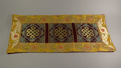 ETERNAL KNOT PUJA TABLE COVER - Maroon with Yellow Border