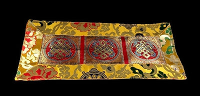 ETERNAL KNOT PUJA TABLE COVER - Red with Yellow Border