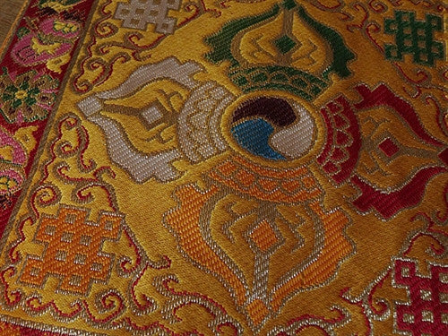 DOUBLE DORJE TABLE COVER for BELL & DORJE - Golden Yellow with red border