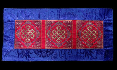 Three Section Endless Knot Brocade Table Cover - Red with blue border