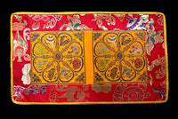 Two Section Embroidered Auspicious Symbols Table Cover - Yellow with Red Auspicous Symbol border