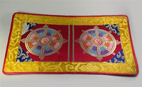 Dharmachakra Puja Table Cover - Red with Yellow Border