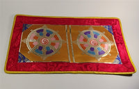 Dharmachakra Puja Table Cover - Golden Yellow with Red Border