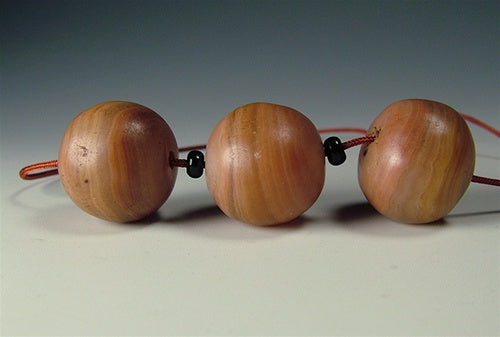 Three Antique Banded Agate Beads - 18 mm
