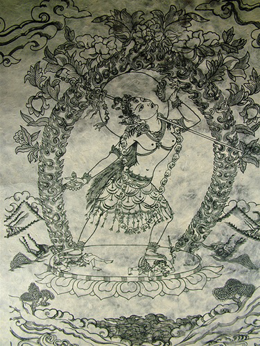 Extra Large Vajra Yogini Woodblock Print from Nepal