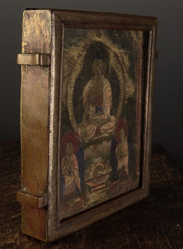 Large Copper Gau with Miniature Painting of Buddha Shakyamuni