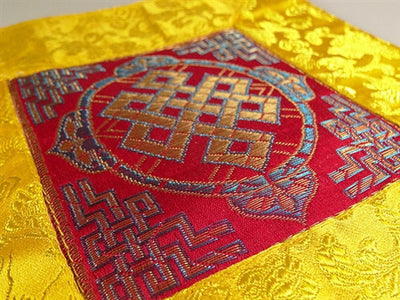 SQUARE ETERNAL KNOT PUJA TABLE COVER - Red with yellow border
