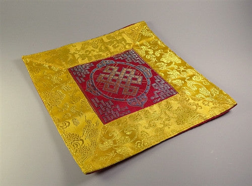 Square Eternal Knot Puja Table Mat - Red with yellow border