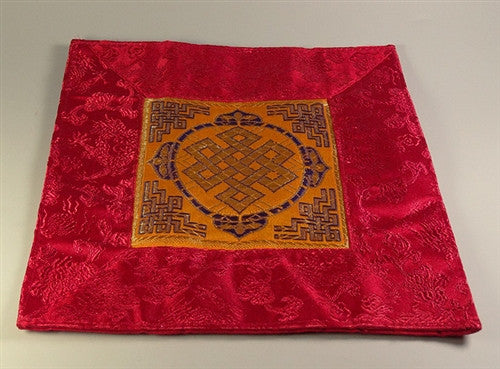 Square Eternal Knot Puja Table Mat - Orange with Red Border