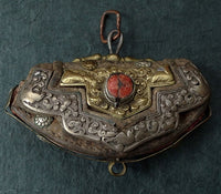 Antique Tibetan Leather Purse (Chuckmuck, Tibetan: Mechag) - 19th C