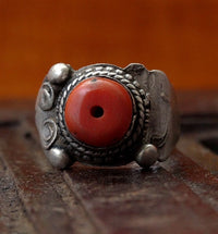 Antique Tibetan Silver Ring with Antique Red Coral - Animal-Style