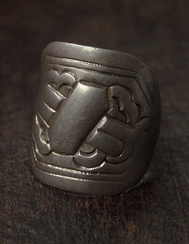 Antique Tibetan Silver Ring with Dharma Motif - 19th C