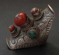 Antique Tibetan Silver Saddle Ring Hair Ornament