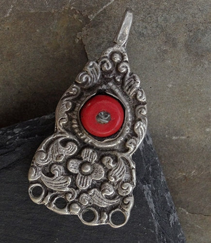 Antique Tibetan Silver Pendant with Sherpa Coral Inlay