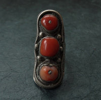 Antique Tibetan Silver Ring with Coral Inlay