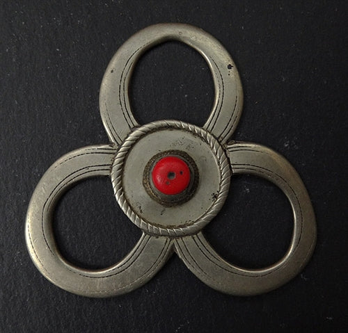 Three Antique Tibetan Silver Circlet Pendants - 19th C