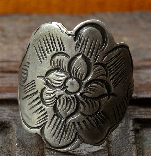 Large Antique Tibetan Silver Ring with Flower Motif - 19th C