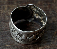 Antique Tibetan Silver Ring with Bat Motif  - 19th C