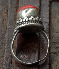 Antique Tibetan Silver Ring with Sherpa Coral - 19th C