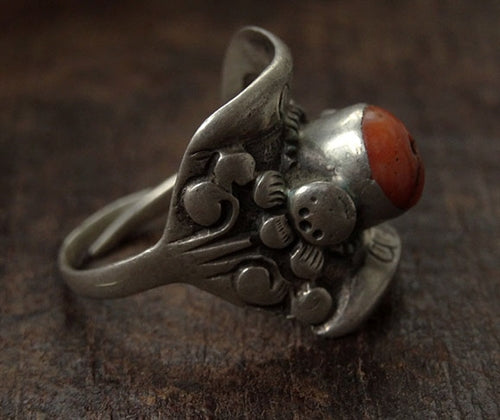 Antique Tibetan Silver Saddle Ring with Coral Inlay - 19th C