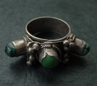 Antique Tibetan Silver & Turquoise Ring or Hair Ornament