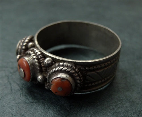 Antique Tibetan Silver & Coral Ring or Hair Ornament