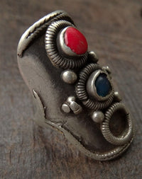 Antique Tibetan Silver Saddle Ring - Early 20th C
