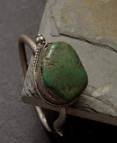 Antique Tibetan Silver Earring with Turquoise