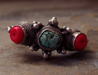 Antique Tibetan Silver Earring with Turquoise & Coral