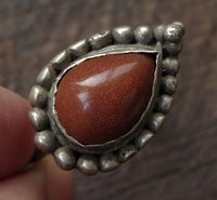 Antique Tibetan Silver Earring with Sunstone