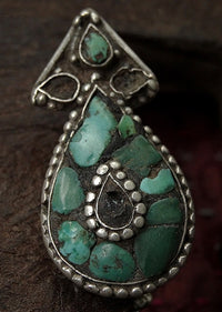 Antique Tibetan Silver Earring with Turquoise Inlay