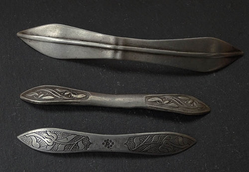 Three Antique Han Style Silver Hair Pins - 19th C