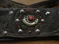 Antique Tibetan Leather Waist Bag with brass and silver studs