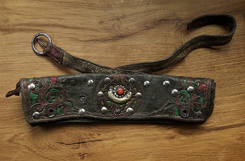 Old Tibetan Leather Waist Bag with brass and silver studs