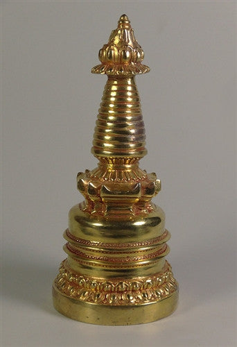 Fully Gilded Copper Stupa - 5 inches