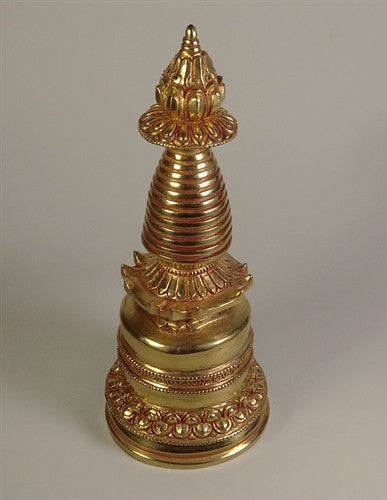 Fully Gilded Copper Stupa - 7.5 inches