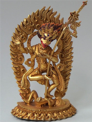 Small Simhamukha Statue - Lion Headed Dakini - Fully Gilded