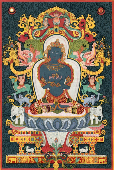 Vajradhara or Dorje Chang Thangka - Fine Art Thangka Reproduction - by Flera Birmane