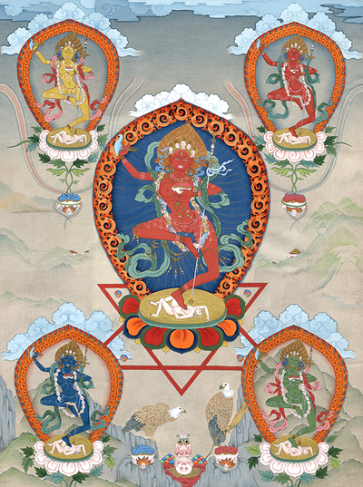 Vajravarahi Thangka - Fine Art Thangka Reproduction - by Flera Birmane