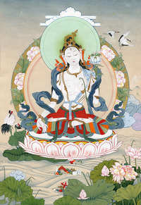 White Tara Thangka - Fine Art Thangka Reproduction - by Flera Birmane