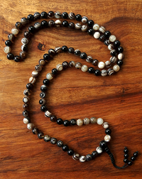 Fine Banded Agate Bead Mala - 8 mm