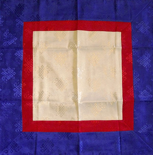 Square Tibetan Shrine Brocade - White, Red & Blue - Endless Knot