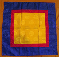 Square Tibetan Shrine Brocade - Golden Yellow Endless Knot