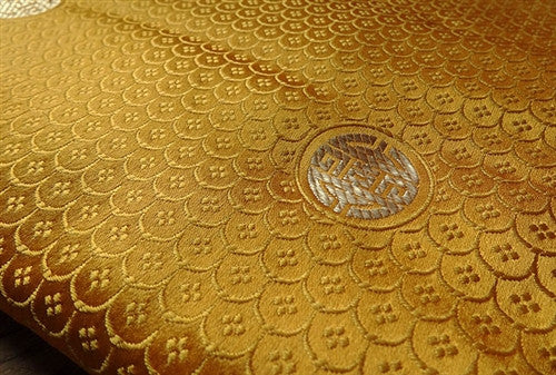Square Tibetan Shrine Brocade - Golden Yellow Longevity and Endless Knot
