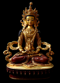 Fine Quality Gilded Copper Amitayus Statue - 8 inches