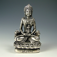 Small Amitayus Statue - White Metal